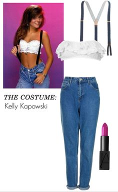 Vintage Halloween Costume: Feathered bangs, a white bandeau top, suspenders and jeans are all it takes to make your teenage dreams of being Kelly Kapowski come true this Halloween. #DIY