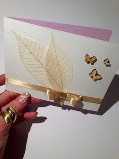 Handmade wedding invitation in elegant gold color. Make your day a bit more special with this lovely invitation :)