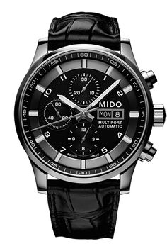 Mido Multifort Black Leather Watch