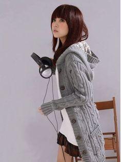 Hooded Long Sleeve Cardigan Sweater
