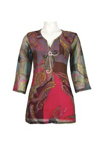 Silk Threads Bell Sleeve Front Detail Multi Print Chiffon Top - New Yorker's Apparel