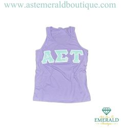 New at Alpha Sigma Tau Emerald boutique! Lavender unisex tank with adorable mint and white anchor sewn on letters!! Enjoy!