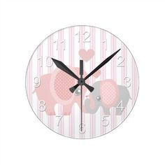 Beautiful Baby Girl Pink Elephant Round Clock