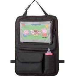 Quer ter uma viagem tranquila? Garanta a distração do bebê! Organizador de carro com porta tablet!