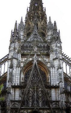 """LATER FRENCH GOTHIC: St. Maclou, Rouen, France, C. 1500-1514. While the Renaissance was already in full swing in Italy, the French were pushing the extremes with elaborate ornamentation as seen in the exquisite traceries of St. Maclou. Considered one of the best examples of the """"Flamboyant style"""" of Gothic architecture in France. #gothicarchitecture"""
