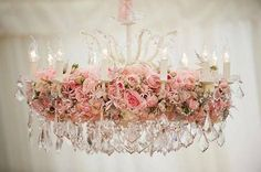 Shabby Chic crystal chandelier decorated with fresh flowers and pink roses just beautiful and ultra feminine Shabby Chic Cottage, Vintage Shabby Chic, Shabby Chic Homes, Rose Cottage, Cottage Style, Estilo Shabby Chic, Shabby Chic Style, Shabby Chic Decor, Floral Chandelier