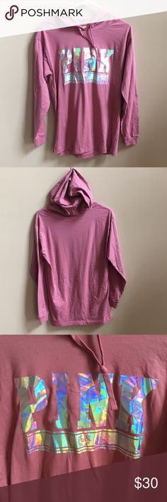 NWOT PINK Hoodie XS Pink by Victoria's Secret hoodie XS. Rose colored. Iridescent pink logo. New without tags's. Label marked to prevent store returns. From a non-smoking and pet free posher. Bundle and save on shipping! PINK Victoria's Secret Tops Sweatshirts & Hoodies