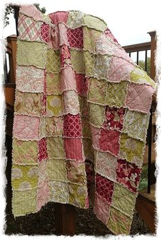 Rag Quilt - Ready To Ship - Twin Size - Modern Meadow - Joel Dewberry - Modern Chic Bedding Shabby Green Pink. $255.00, via Etsy.