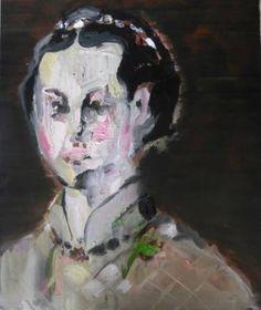 "Irene Van Den Bos ""BRONZINO DISTORTED"" Acrylic and Oil on Canvas. 28x 20 in"