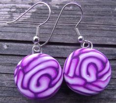 Unique Purple Rose Polymer Clay Earrings -- Hypo-Allergenic and Nickel Free
