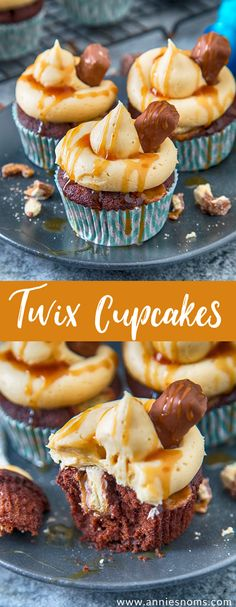 These Twix Cupcakes are out of this world amazing! A soft, rich chocolate cupcake filled with bits of Twix and topped with caramel frosting and sauce!