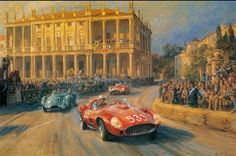 Alan Fearnley, 1942 ~ Retro and Classic Car Yorkshire, Ferrari Racing, Ferrari F1, Classic Race Cars, Classic Motors, Car Posters, E Type, Car Drawings, Happy Art