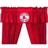 """Valance is 14""""L x 88""""W. Has a 3"""" rod pocket for gathering, and 2"""" header. Logo is screen printed. Machine washable. 100% Polyester Jersey."""