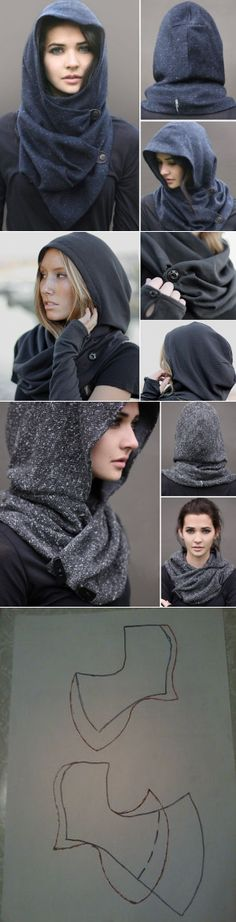 "Unusual ""hood"" (pattern) / Hats / SECOND STREET The post Sew beautiful ! appeared first on DIY Fashion Pictures. Diy Clothing, Sewing Clothes, Clothing Patterns, Sewing Patterns, Diy Kleidung, Hooded Scarf, Creation Couture, Diy Fashion, Fashion Design"