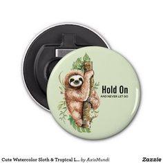 Cute Watercolor Sloth & Tropical Leaves Bottle Opener Tropical Leaves, Diy Face Mask, Sloth, Gifts For Dad, Watercolor, Bottle Openers, Amp, Cute, Kitchen Accessories