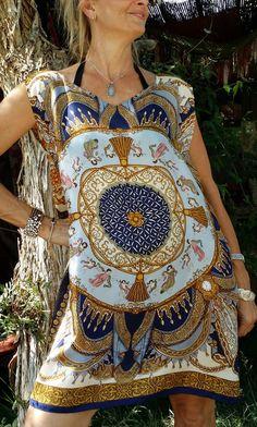 Vintage Silk Scarf M L XL Beach Coverup Dress Cover by HippieWild