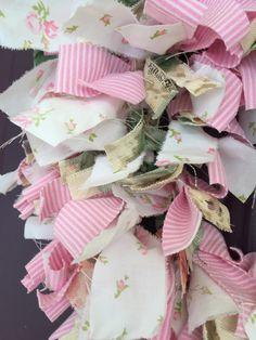 Shabby chic rag wreath pink roses for baby girl nursery
