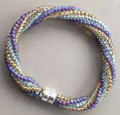 Twisted herringbone bracelet -teal and purple