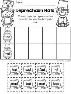 Free leprechaun hats >> sorting -ad and -at family words kindergarten language arts Literacy Worksheets, Kindergarten Worksheets, Kindergarten Classroom, Classroom Activities, Elderly Activities, Dementia Activities, Preschool Activities, Classroom Ideas, St Patrick Day Activities