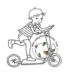 scooter digital stamp boy