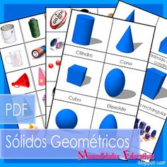 Geometric solids three part cards and objects to classify, in Spanish, free! Math Activities For Kids, Preschool Math, Math For Kids, Kindergarten Math, Kids Learning, Montessori Homeschool, Montessori Activities, Geometric Solids, Geometric Shapes