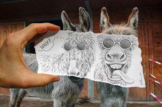 ¿Qué te inspira para hacer estos magníficos dibujos?  Ben Heine> Gente, naturaleza, eventos pequeños, animales, amor, libertad, amistad ... ...
