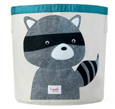 Raccoon Organic Storage Bin-3 sprouts 3sprouts organic cotton canvas storage bin organiser tub store storing raccoon