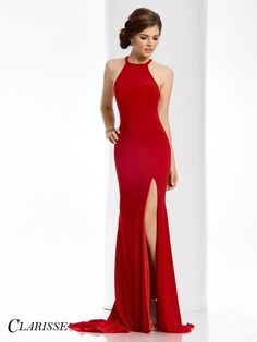 Simple Sexy Clarisse Prom Dress Style 3106. If you are looking for a simple sexy dress, this halter gown with cutouts and amazing slit is for you! Click our where to buy tab to find your closest Clarisse retailer! Click through to see more! COLOR: Black, Apple Red, Ocean Blue SIZE: 00-16