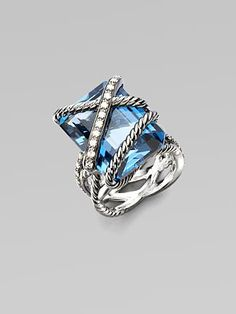 David Yurman London blue topaz wrapped in cables and diamonds in sterling silver.