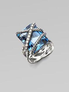 David Yurman Diamond Accented London Blue Topaz Ring