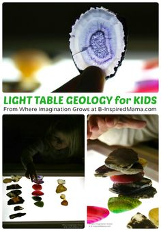 Light Table Geology - Simple Science for Kids - From Where Imagination Grows at B-InspiredMama.com #kids #preschool #scienceforkids #science #kbn