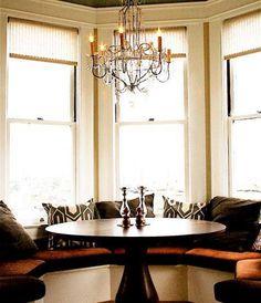 Kitchen table window seat on pinterest bay windows for Bay window nook bench