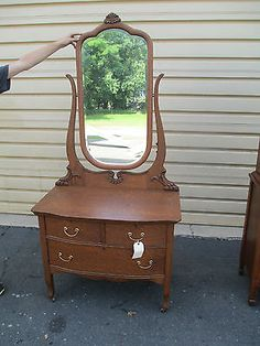 Charmant 52488 Antique Oak Vanity Dresser Chest W Mirror | EBay