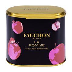 La Pomme - La boîte de 100g Un thé fruité et gourmand au parfum de pomme rouge.  Best seller FAUCHON, créé en 1972, ce thé est un équilibre subtil et unique entre une base de thé noir de Ceylan et une pomme rouge confite, caramélisée, gourmande.