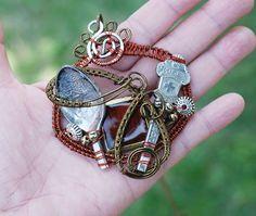 Unisex Pendant Antique Bronze Wire Wrap Vintage Souvenir Broken Spoon Necklace #Jeanninehandmade #Pendant