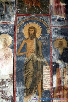 John The Baptist, Monastery Studenica Byzantine Icons, Byzantine Art, Religious Icons, Religious Art, Tempera, Fresco, Greek Icons, Church Icon, Mosaics