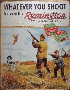 Amazon.com: Remington Whatever You Shoot Rifle Hunting Distressed Retro Vintage Tin Sign: Furniture & Decor