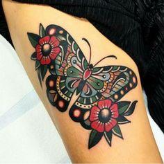 trendy tattoo leg sleeve nature did - tattoo ideas/tattoo motivation/piercings - Traditional Butterfly Tattoo, Traditional Tattoo Old School, Traditional Tattoo Flash, Traditional Tattoo Nature, Piercings, Piercing Tattoo, Arrow Tattoos, Leg Tattoos, Body Art Tattoos