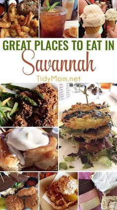 Savannah, Georgia is definitely the place for incredible Southern food. This is a list of great places to eat in Savannah, Georgia. From dinner and lunch restaurants, fried green tomatoes to ice cream and desserts you don't want to miss when traveling! at TidyMom.net