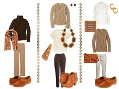 warm-toned outfits, with amber accessories, from The Vivienne Files