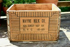 Antique Wayne Milk Co. Wooden Crate New York City | Etsy