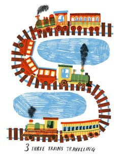 Cute train illustration - perfect for little boy's rooms