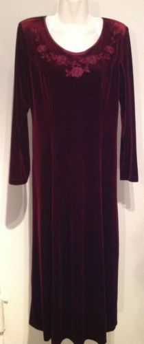 NWT Coldwater Creek $89 Stretch Velvet Embroidered Maxi Dress Size 12  $34.99