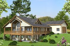 HOUSE PLAN 039-00585 – This attractive Mountain house plan features a stunning exterior and loads of outdoor entertaining and relaxing space. The interior floor plan is highlighted with a basement foundation, three bedrooms and three baths in approximately 3,304 square feet of living space.
