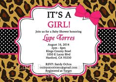 Leopard Print Baby Shower Invitation by Cutie Patootie Creations  CutiePatootieCreations.com! #leopardprintbabyshower