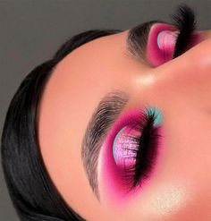 29 Colourful makeup looks the easiest way to update your look - stunning Pink and Mint makeup ideas . #eyemakeup #makeup #eyes #beauty #BeautyRoutine30S Eye Makeup Designs, Eye Makeup Art, Eyeshadow Makeup, Makeup Ideas, Eyeshadows, Cute Eye Makeup, Makeup Themes, Pink Eyeshadow Look, Bold Eye Makeup