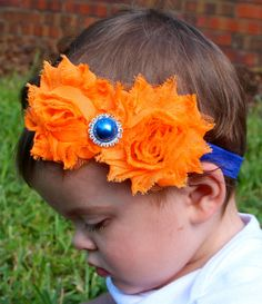 University of Florida Gators Baby Vintage Shabby Chic Chiffon Flower  Orange and Blue Headband with blue rhinestone pearl