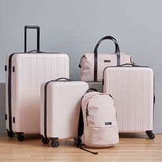 Our exclusive west elm Travel Collection makes traveling in style effortless. From durable, high-quality hardside luggage to roomy duffle bags and lightweight backpacks, this collection is ready for everything from short weekend trips to longer st… Pink Luggage, Cute Luggage, Best Carry On Luggage, Calpak Luggage, West Elm, Hard Sided Luggage, Cute Suitcases, Hardside Spinner Luggage, Lightweight Backpack