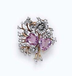 Pink Topaz and Diamond Brooch, Verdura