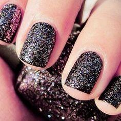 Rock Star Nails black glitter and high gloss. OPI